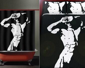 sexy morning hunk man gay art shower curtain duvet cover bath mat towel pillow cushion blanket bedding bathroom decor fabric queen king twin