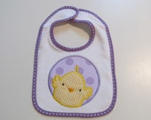 Ready To Ship,Baby Girl, White Terry Cloth Bib with Easter Chick, with Lavendar Trim, Easter Chick Applique