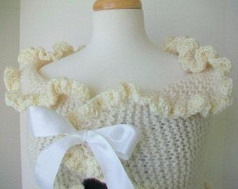 Bridal bolero, Fall - Winter wedding, Bridal shawl,  White ruffled shrug  White satin ribbon bow