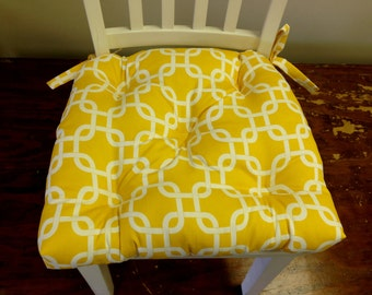 Set of 2, 4, 6, 8 tufted chair pads, seat cushions, bar stool cushions, corn yellow and white gotcha chain link