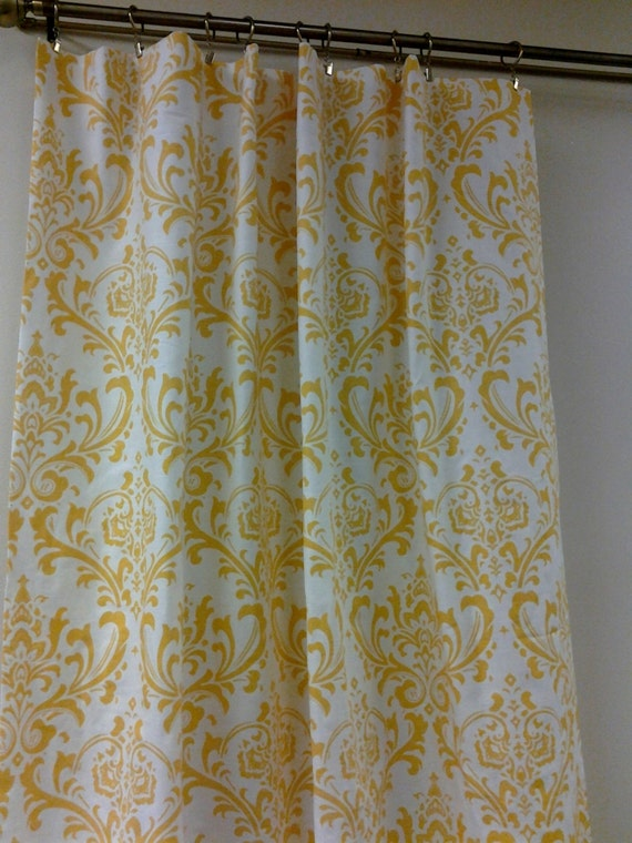 """Two 50"""" wide curtain panels drapes traditions damask yellow on white"""