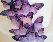 50 large PRECUT purple wedding butterflies favors on sale - cake decoration - assorted edible toppers by Uniqdots on Etsy