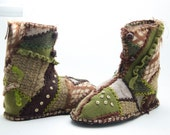 Reserved Do not buy.Woodland patchwork slipper boots from upcycled sweaters