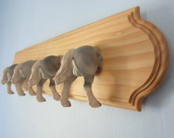 Upcycled Wall Peg Rack with Stallion Horse Toy Clothes Hooks