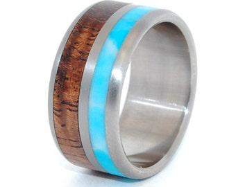 wedding ring, titanium rings, wood rings titanium wedding ring, men's ring, women's ring - the SKY ABOVE our HOME