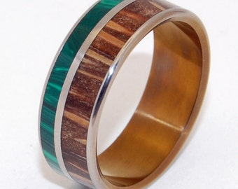 wedding ring, titanium rings, wood rings titanium wedding ring, men's ring, women's ring - PYRRHUS