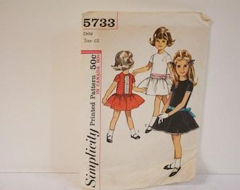 Vintage 1960s Simplicity Child's One Piece Dress Pattern 5733 Size 6X