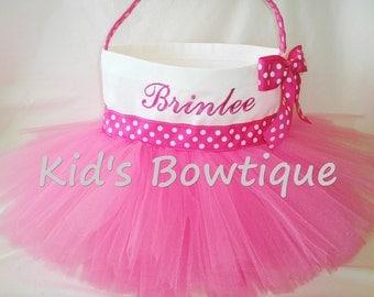 Easter Basket Tutu Bag- Personalized Hot Pink Tutu Easter Basket - Flower Girl Tutu Basket Bag