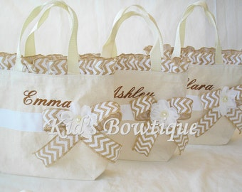 Personalized Wedding Flower Girl Tote with Burlap Chevron Ruffles and Bow- Monogrammed Flower Girl Gift Bag