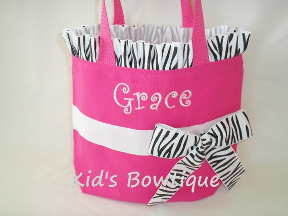 Set of 4 Zebra Personalized Ruffles and Bow Bridesmaid Totes- Monogrammed Flower Girl Gifts