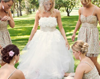 50s Wedding Dress | Tea Length Wedding Dress | Strapless Lace Wedding Dress | Tulle Wedding Dress | Short Wedding Dress | LYDIA