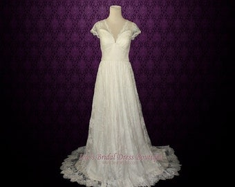 Vintage Lace Wedding Dress with Cap Sleeves   Lace Wedding Dress   Vintage Wedding Dress   Ana CS131205