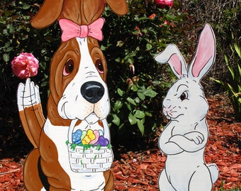 """Made to Order Basset Hound Yard Art - """"Theodore"""" and the Easter Bunny two piece set."""