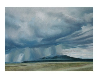 Cloudburst Pastel Drawing- Stormy Sky- Storm Art- Original Drawing on Paper- 13x18- Blue, Grey, Olive Green- Santa Fe-  Horizontal