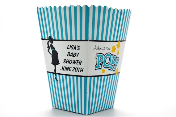 teal about to pop personalized baby shower popcorn boxes set of 10