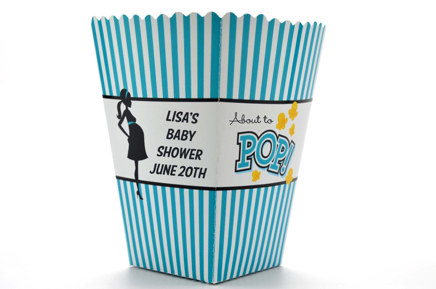 teal about to pop personalized baby shower popcorn boxes