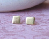 Gold Earrings - Studs  - Gold Stud Earrings - 18k Gold Plated Square Studs