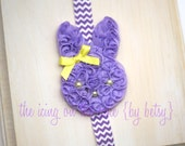 Lavender Bunny Rabbit Chiffon Headband - Custom MADE TO ORDER - Shabby - Photo Prop - Baby pictures - Happy Easter - Spring - Purple Lilac