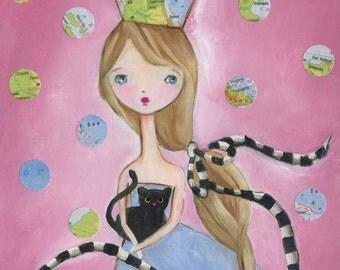 Kitten Girl Art Print, teen gift,  girl room art