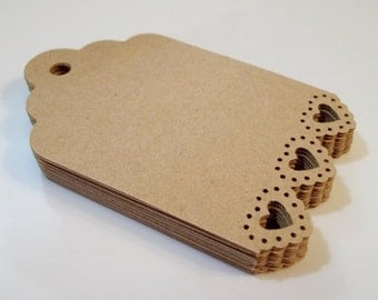 Tags with Heart  Edge--Brown Craft Cardstock or Your Color Choice--30 count