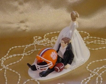College Football Fan Clemson University Groom Sports Lover Tiger Fun Wedding Cake topper Humerous Bride North Carolina University -1