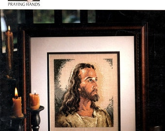 Portrait of Christ Head Light Halo Long Hair Beard Religioius Catholic Christian Counted Cross Stitch Embroidery Craft Pattern Leaflet 24000