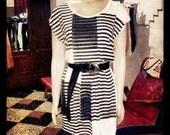Striped screenprinted cream and white short dress O.O.A.K.