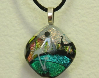 Dichroic Fused Glass Pendant, Tropical Island