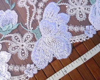 Lace trim, Embroidered lace, Tulle lace, Floral lace, Wedding lace, Girls tutu, Gray lace, 2 yards GY028