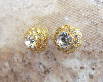 Vintage Signed Roman Pave Clear Crystal Domed Post Earrings