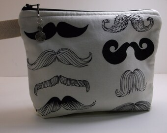 Mustache Black Off White Cosmetic Organizer Travel Make up Bag