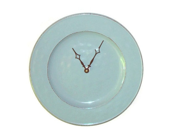 Modern Wall Clock / Stoneware Plate Clock / Wall By