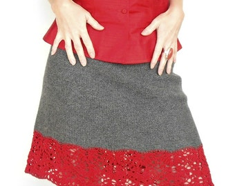 Grey Wool Skirt Anita Lace Hand Knit Andean Wool Red Linen Size XS/S