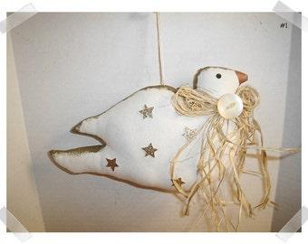 Dove Ornament/White Muslin Fabric/Handmade*