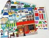 Kids' Sticker Set, European Sticker Scenes Paris, London, Greece, Amsterdam w/ Stickers, Travel Game, Travel Stickers, Kid Stocking Stuffer