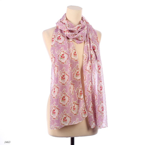 BAROQUE Pink Chiffon Scarf  Floral Print Shawl  Sheer Red Roses Printed White Striped Handmade Long Neck Scarf Women Gift Moms Gift