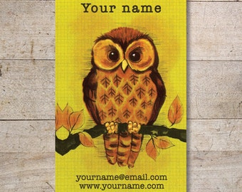 Business Cards - Custom Business Cards - Jewelry Cards - Earring Cards - Display Cards - Vintage Owl - No. 123