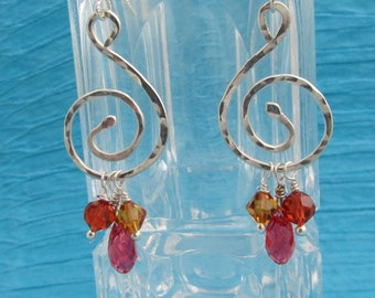 Fine Silver Spiral and Swarvoski Crystal Earrings