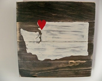 Love Washington State Wooden Wall Art Hanging