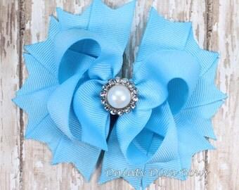 Blue Hair Bow, Boutique Hair Bow, Classic Pearl, Girls Hair Bow, Light Blue Bow, Toddler Hair Bow, Girls Hair Bow, Boutique Hair Bow