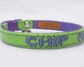 Personalized Leather Cute Cat Collar with Breakaway Buckle by Ruggit Collars