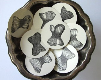 Vintage Corset Tags Round Paper Gift Tags Set of 10