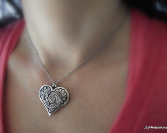 Ornate Filigree Heart Pendant on a Platinum Chain, Silver Necklace, Platinum Necklace, Gift under 50