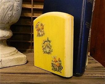 """Vintage Decoupaged Mushroom Wooden Bookends, Pale Cream and Yellow, Metal Stands,Cute Woodland Mushroom Scenes, """"Shroom Book Ends"""""""