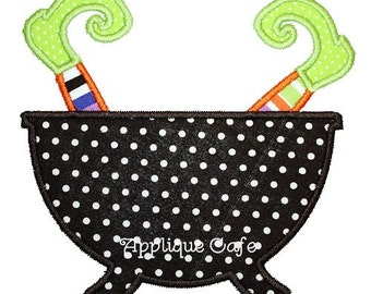 168 Witch Pot Machine Embroidery Applique Design