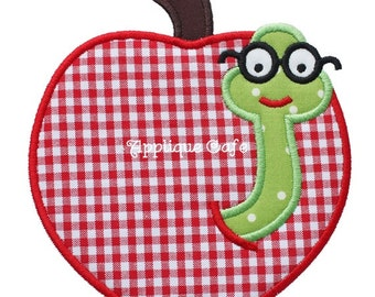 500 Worm Apple Machine Embroidery Applique Design