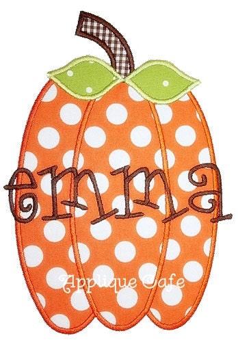 Skinny pumpkin machine embroidery applique design