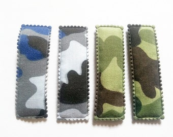 25 pcs -   Mix color Army Camouflage soldier Rectangular Hair Clip COVERS -  size 55 mm