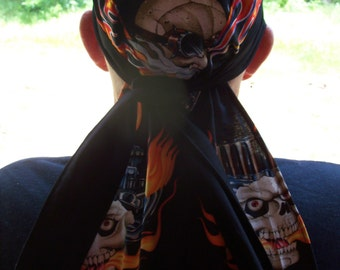 DORAG Cotton Xlong Handmade Biker Mens Womens Skulls FLAMES DEWRAG Durag Chemo Dewrag