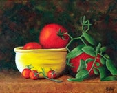 Still life, Tomato Painting, Vegetable Painting, Original Oil Painting, Tomatoes, Tomato Art, Tomato Still Life, Red, Helen Eaton